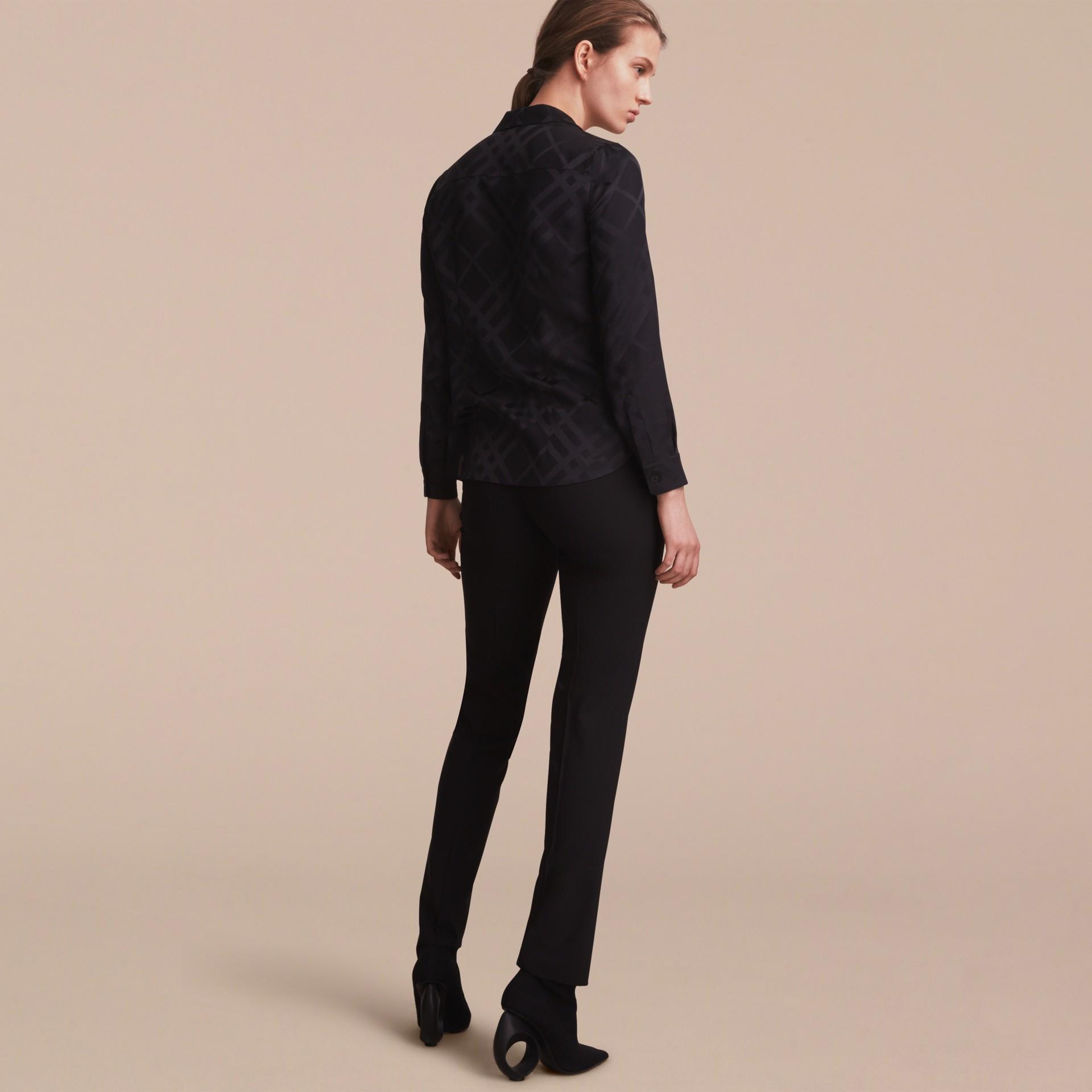 Tonal Check Silk Shirt Black - gallery image 3