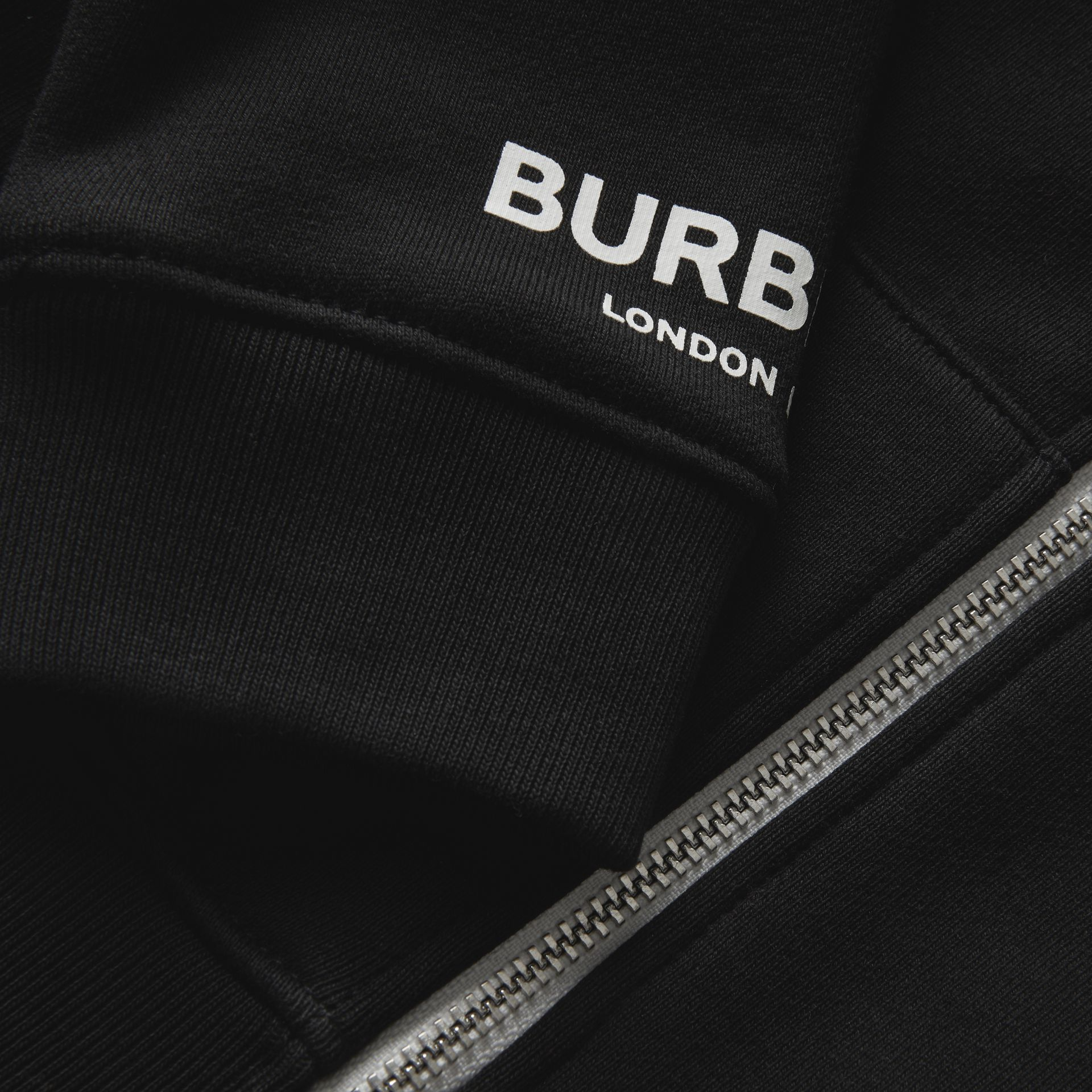 Logo Print Cotton Hooded Top in Black - Children | Burberry - gallery image 1