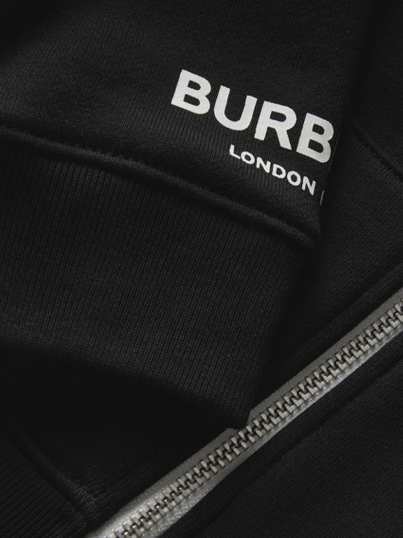 Logo Print Cotton Hooded Top in Black - Children | Burberry - cell image 1