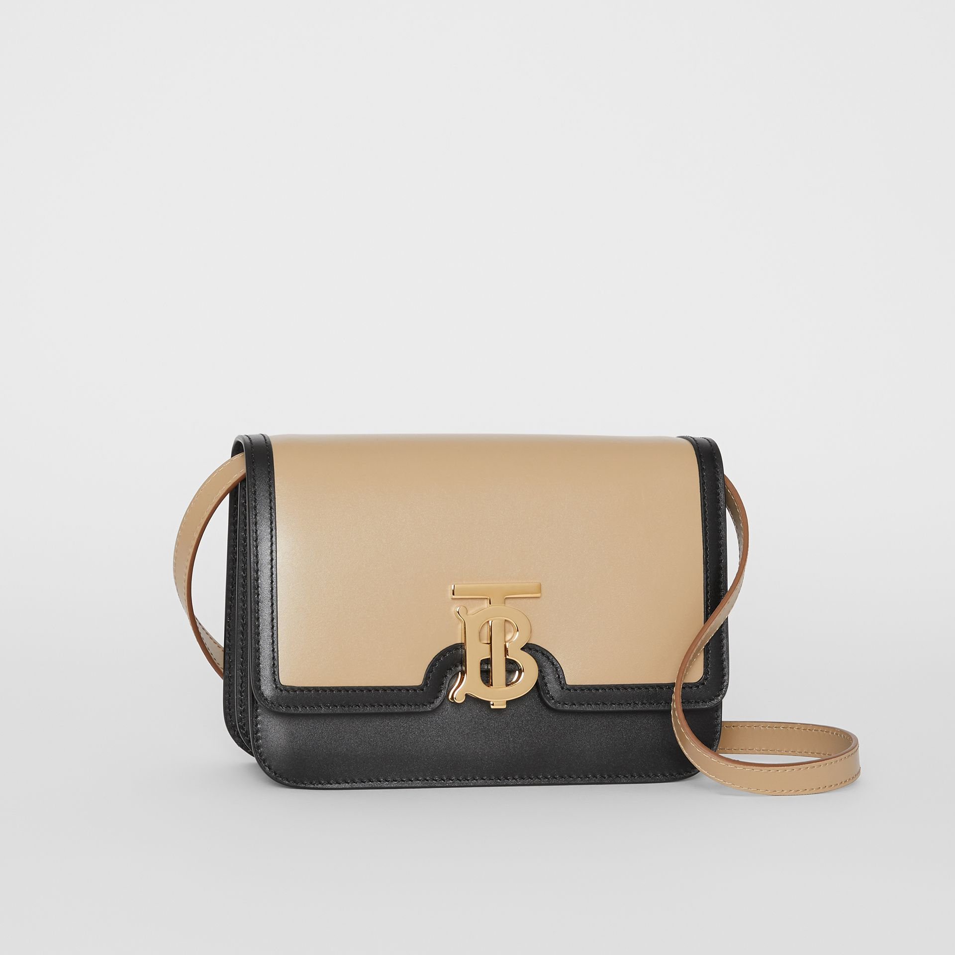 Small Two-tone Leather TB Bag in Honey/black - Women | Burberry - gallery image 6
