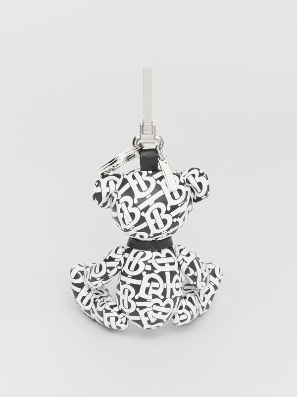 Thomas Bear Charm in Monogram Print Leather in Black/white | Burberry - cell image 3