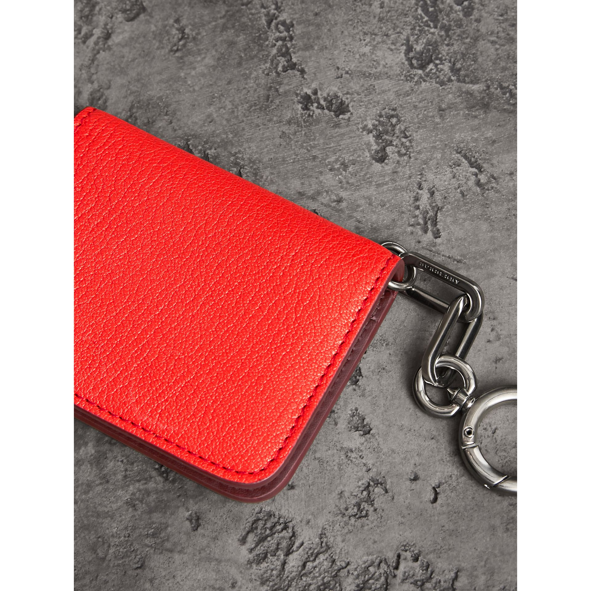 Link Detail Leather ID Card Case Charm in Bright Red | Burberry Singapore - gallery image 5