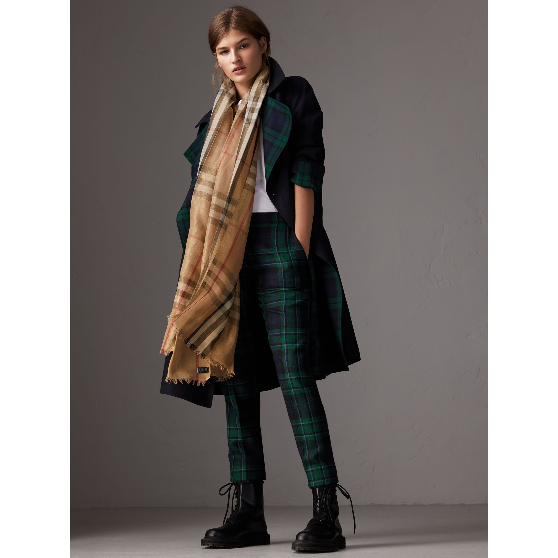 Metallic Check Silk and Wool Scarf in Camel/gold - Women | Burberry Australia - gallery image 2