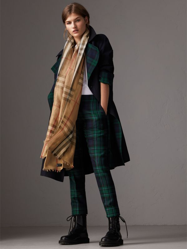 Metallic Check Silk and Wool Scarf in Camel/gold - Women | Burberry Australia - cell image 2