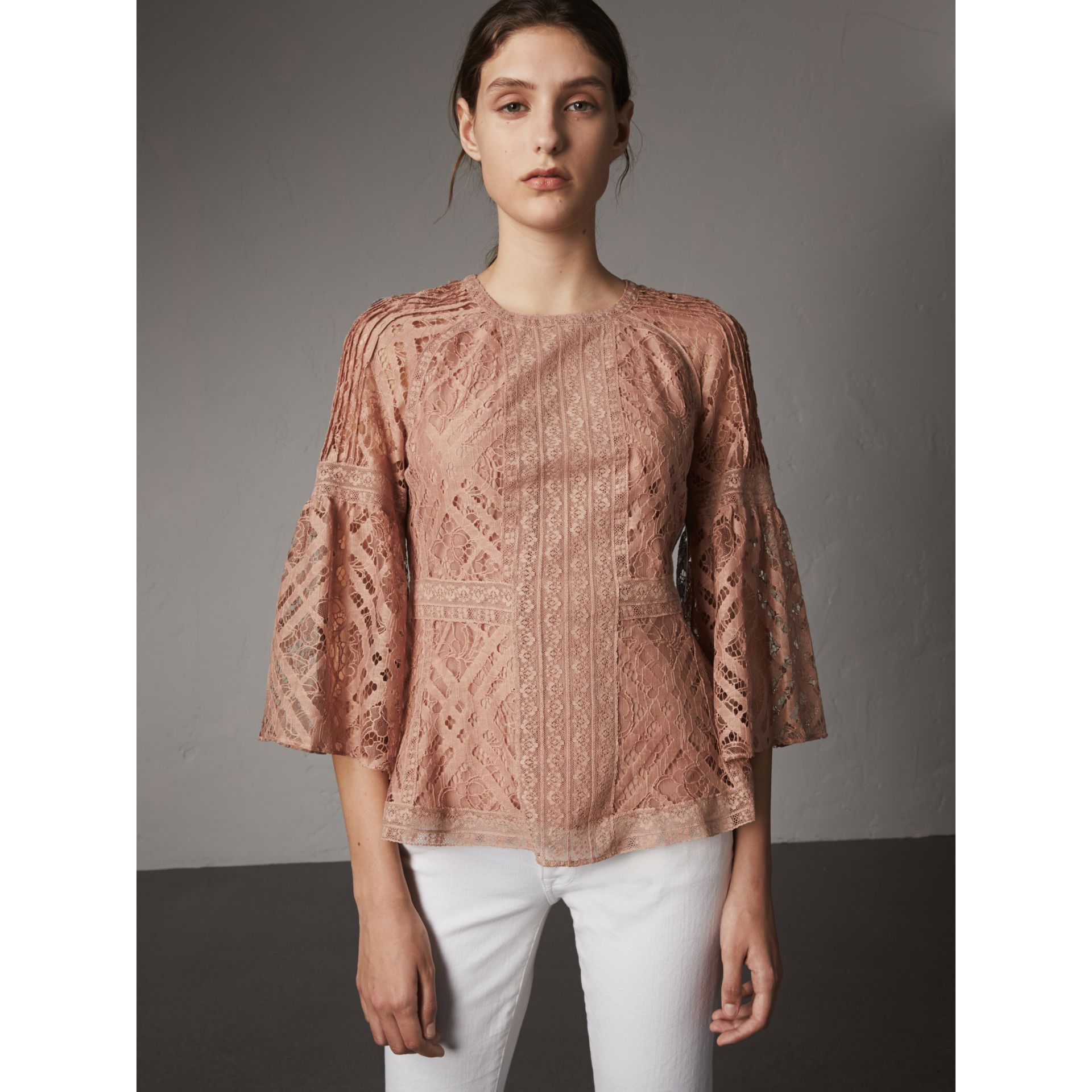 Bell-sleeve Floral and Check Lace Top in Pale Ash Rose - Women | Burberry - gallery image 1
