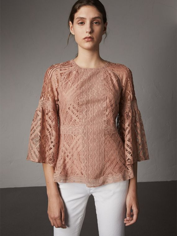 Bell-sleeve Floral and Check Lace Top - Women | Burberry