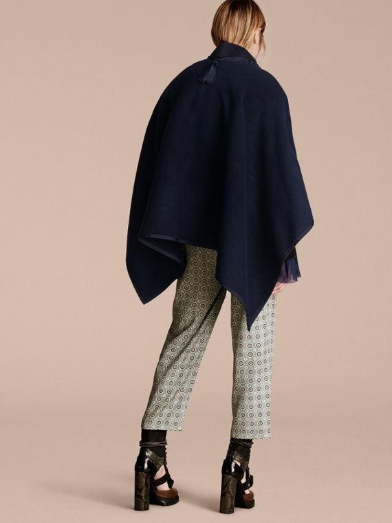 Navy Wool Cashmere Poncho with Tassels - cell image 2