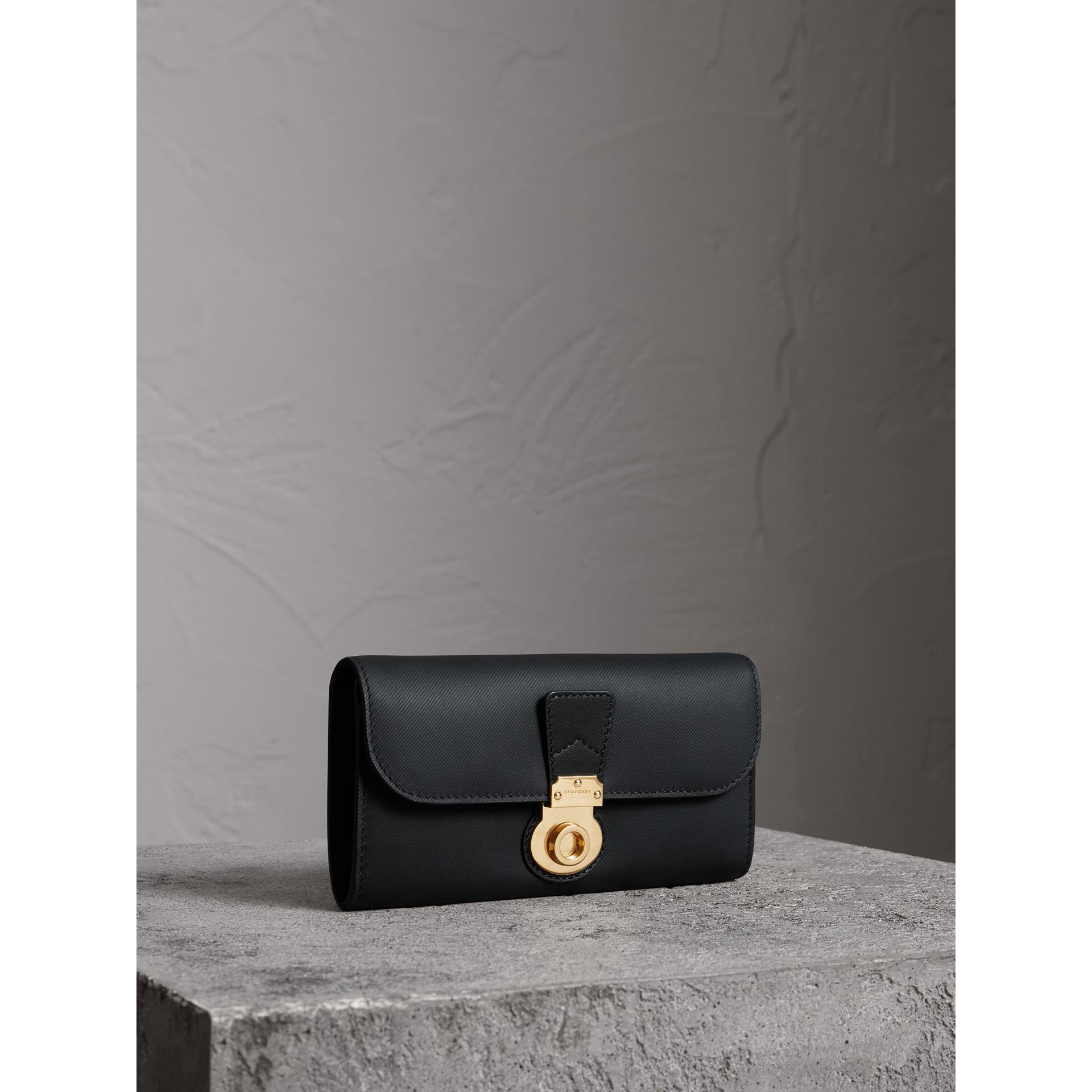 Trench Leather Continental Wallet in Black - Women | Burberry - gallery image 0
