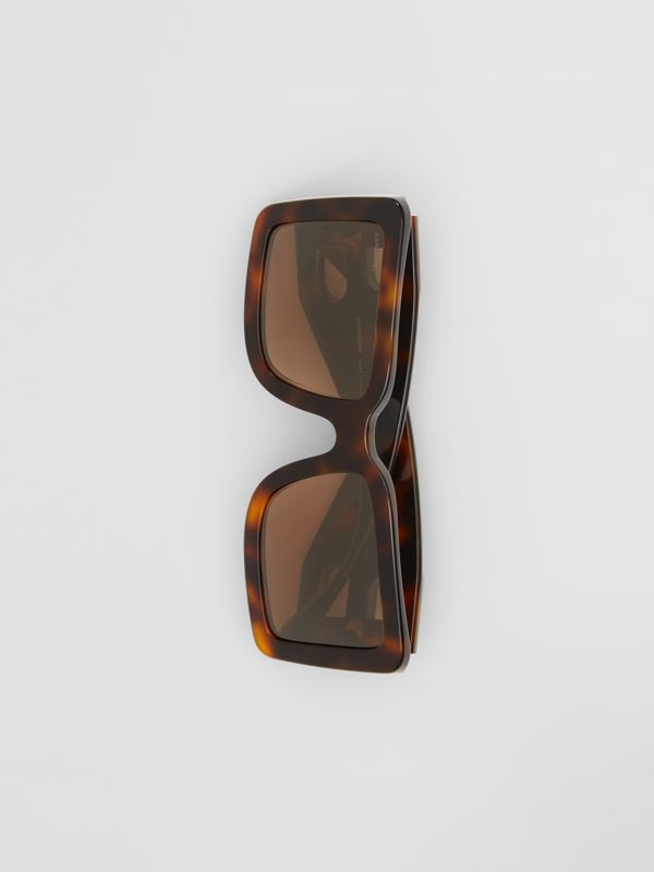 B Motif Square Frame Sunglasses in Tortoise Amber | Burberry United Kingdom - cell image 3