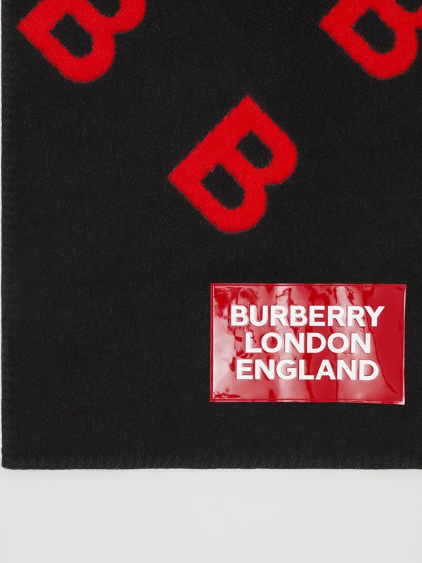 Reversible B Motif Wool Cashmere Blanket Cape in Black/bright Red - Women | Burberry - cell image 3