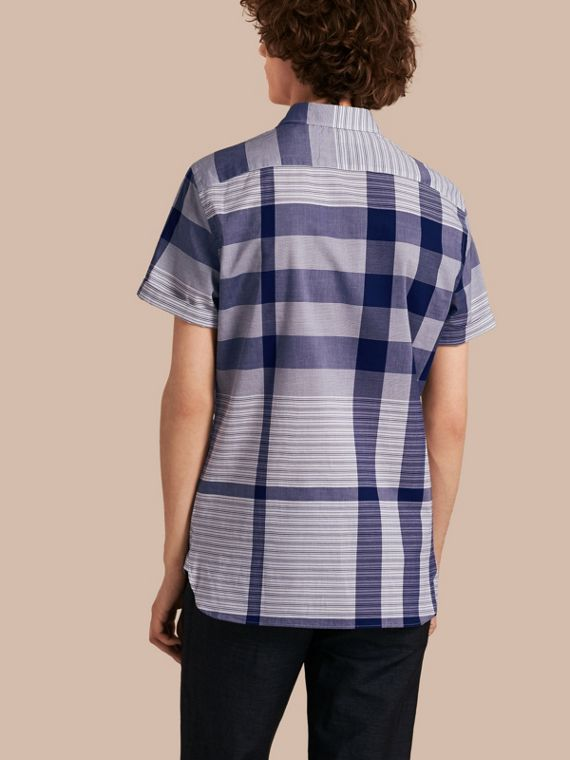 Short-sleeved Tonal Check Cotton Shirt Bright Navy - cell image 2