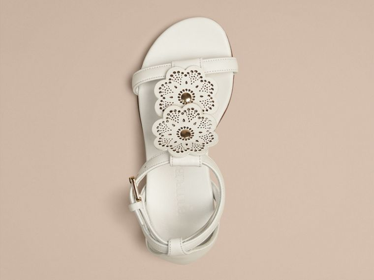 Optic white Floral Detail Leather Sandals - cell image 4