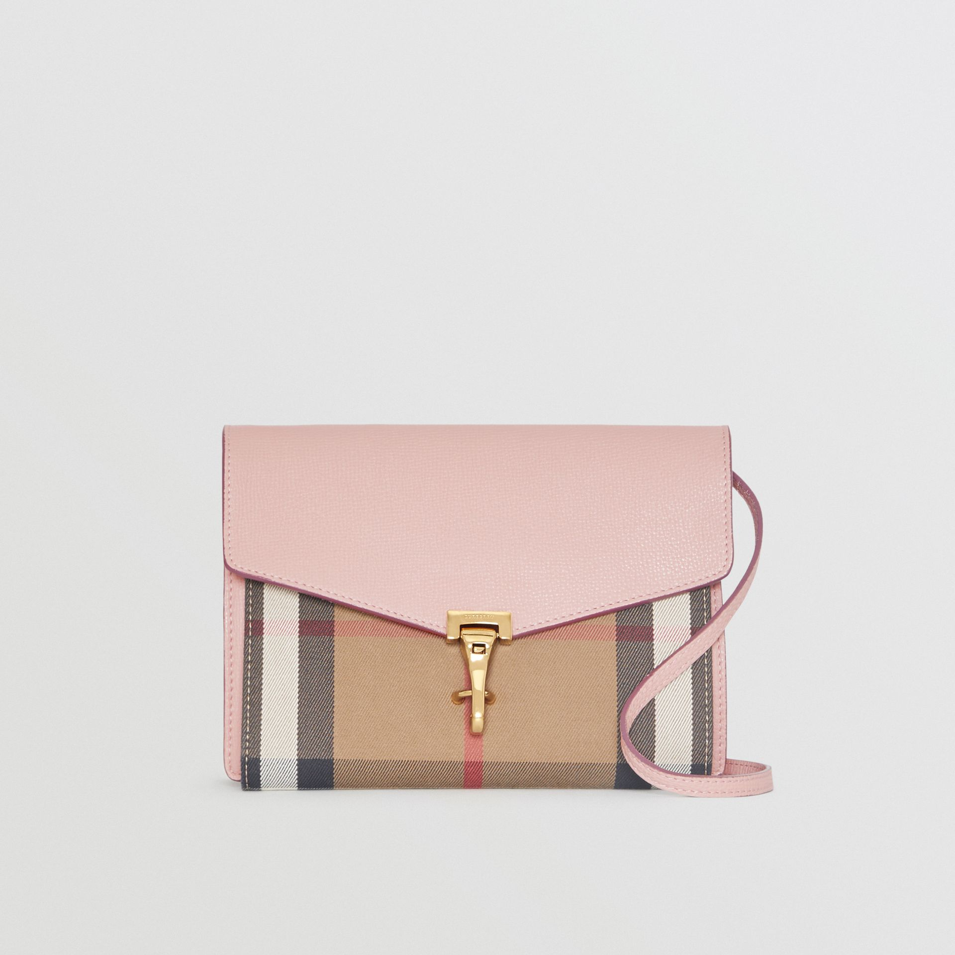 Small Leather and House Check Crossbody Bag in Pale Orchid - Women | Burberry Australia - gallery image 0