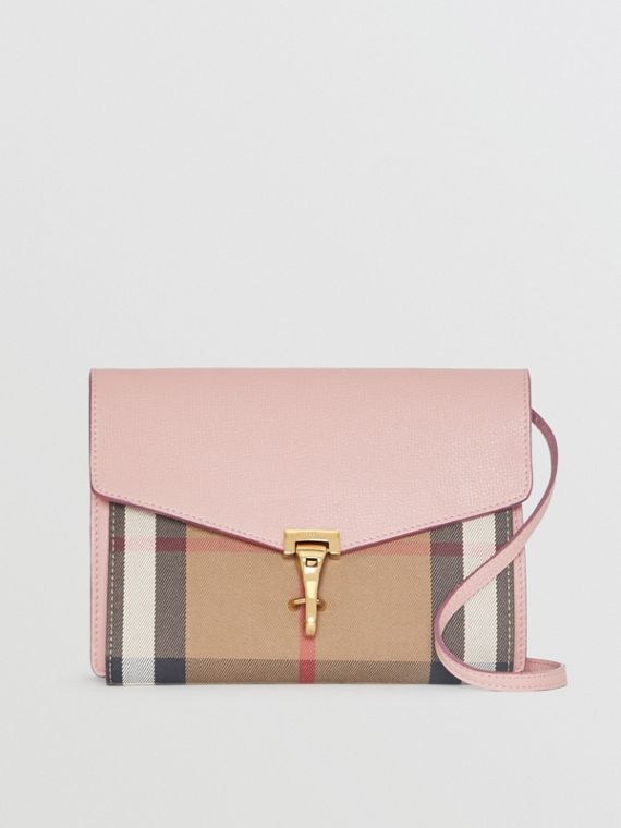 Small Leather and House Check Crossbody Bag in Pale Orchid