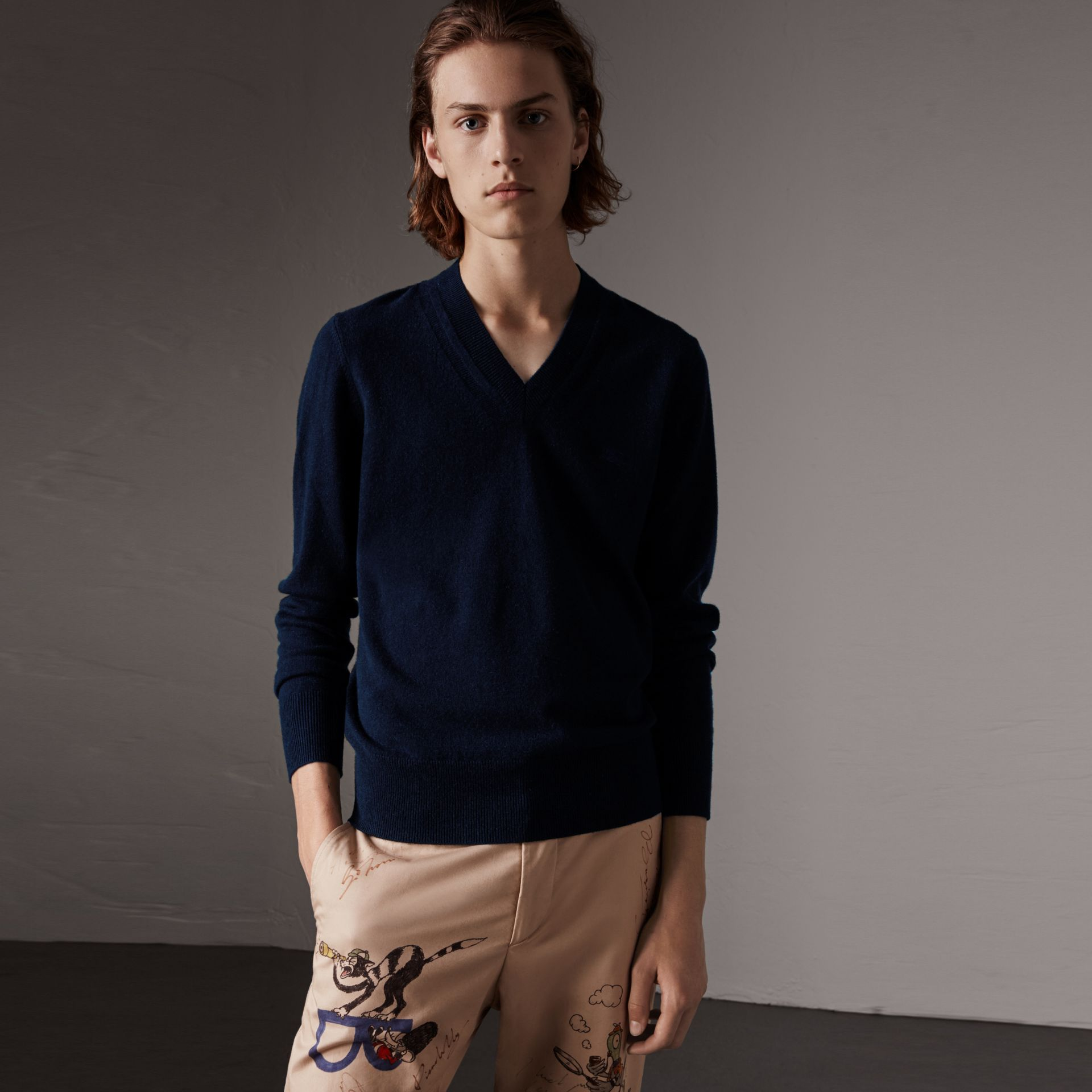 Cashmere V-neck Sweater in Navy - Men | Burberry Singapore - gallery image 0