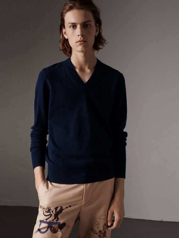 Cashmere V-neck Sweater in Navy