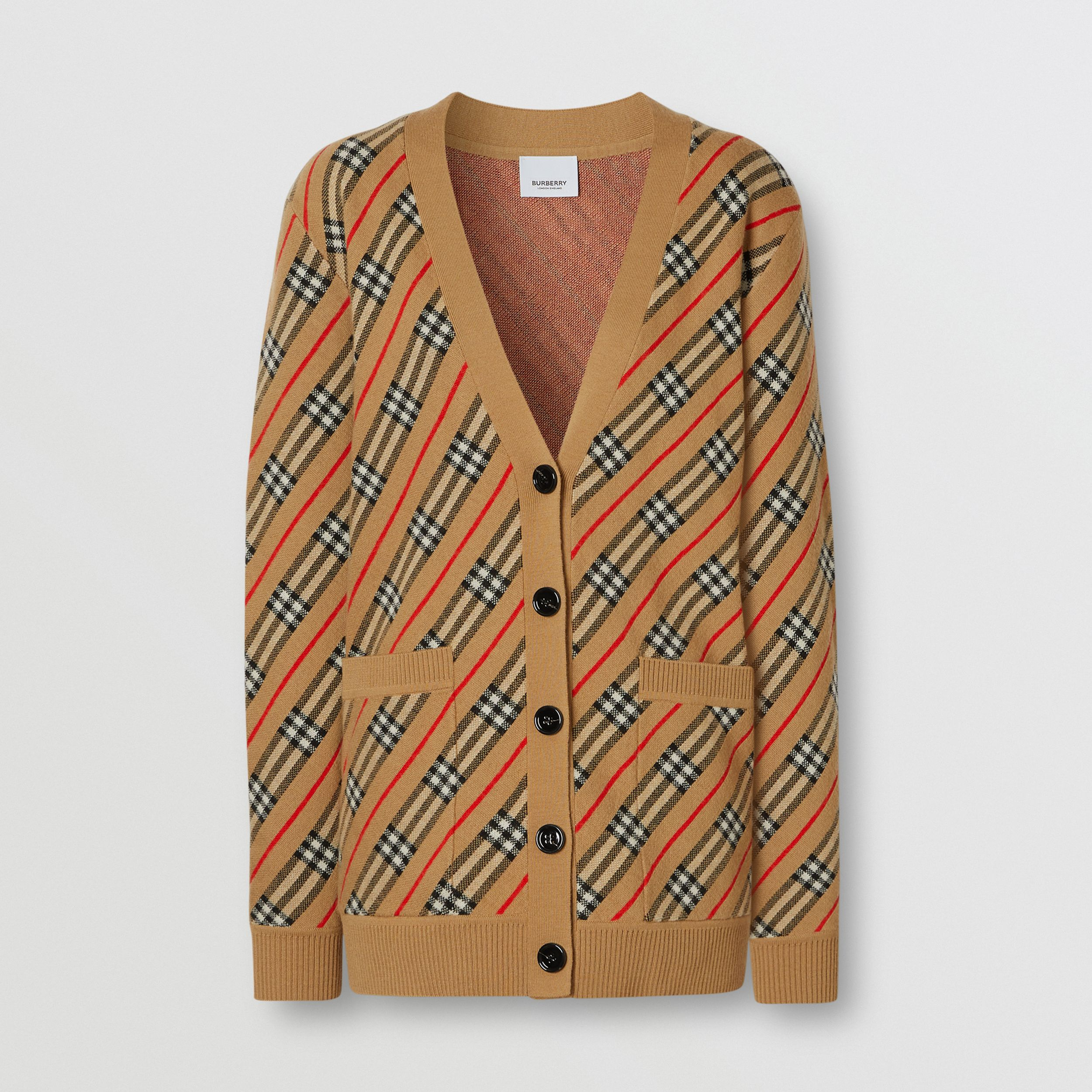 Stripe Merino Wool Blend Cardigan in Camel - Women | Burberry Hong Kong S.A.R. - 3