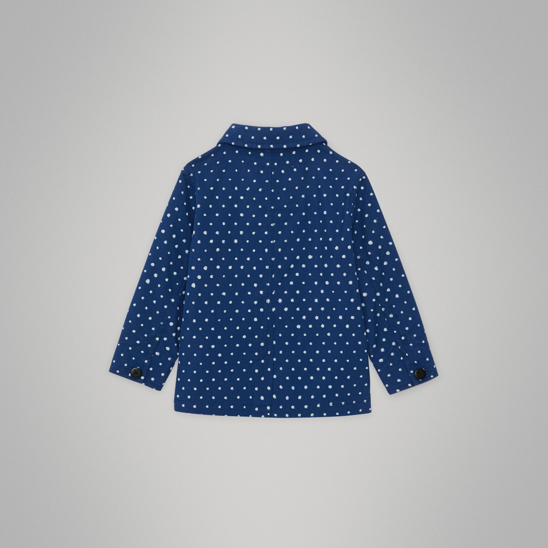 Spot Print Cotton Blend Jacket in Bright Navy - Children | Burberry United Kingdom - gallery image 3