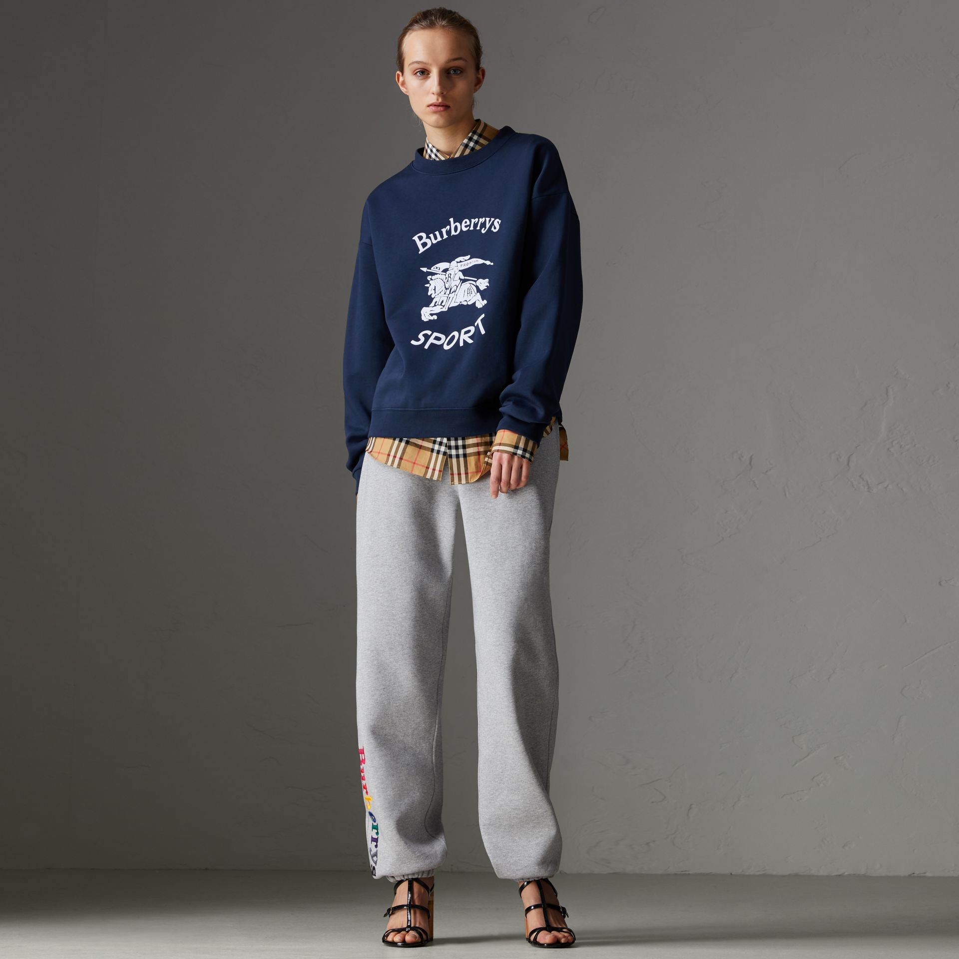 Reissued Jersey Sweatshirt in Navy Blue - Women | Burberry Hong Kong - gallery image 0