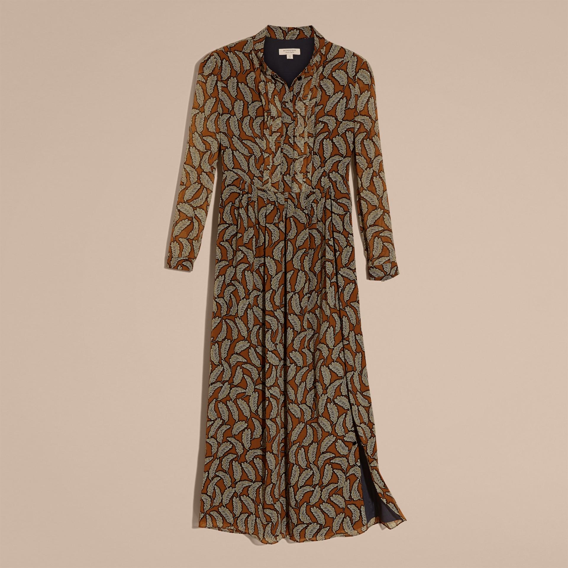 Bright toffee Floral Silk Georgette Dress - gallery image 4