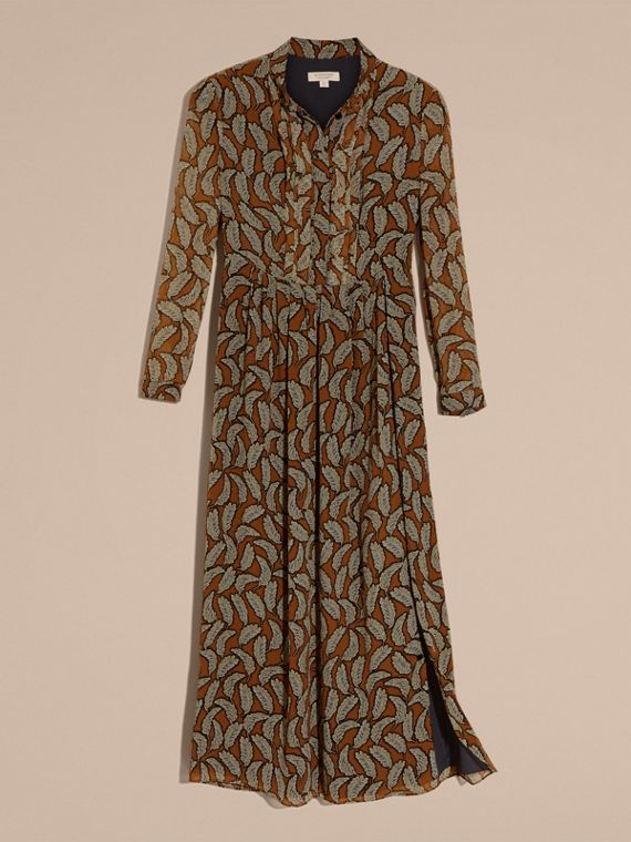 Bright toffee Floral Silk Georgette Dress - cell image 3