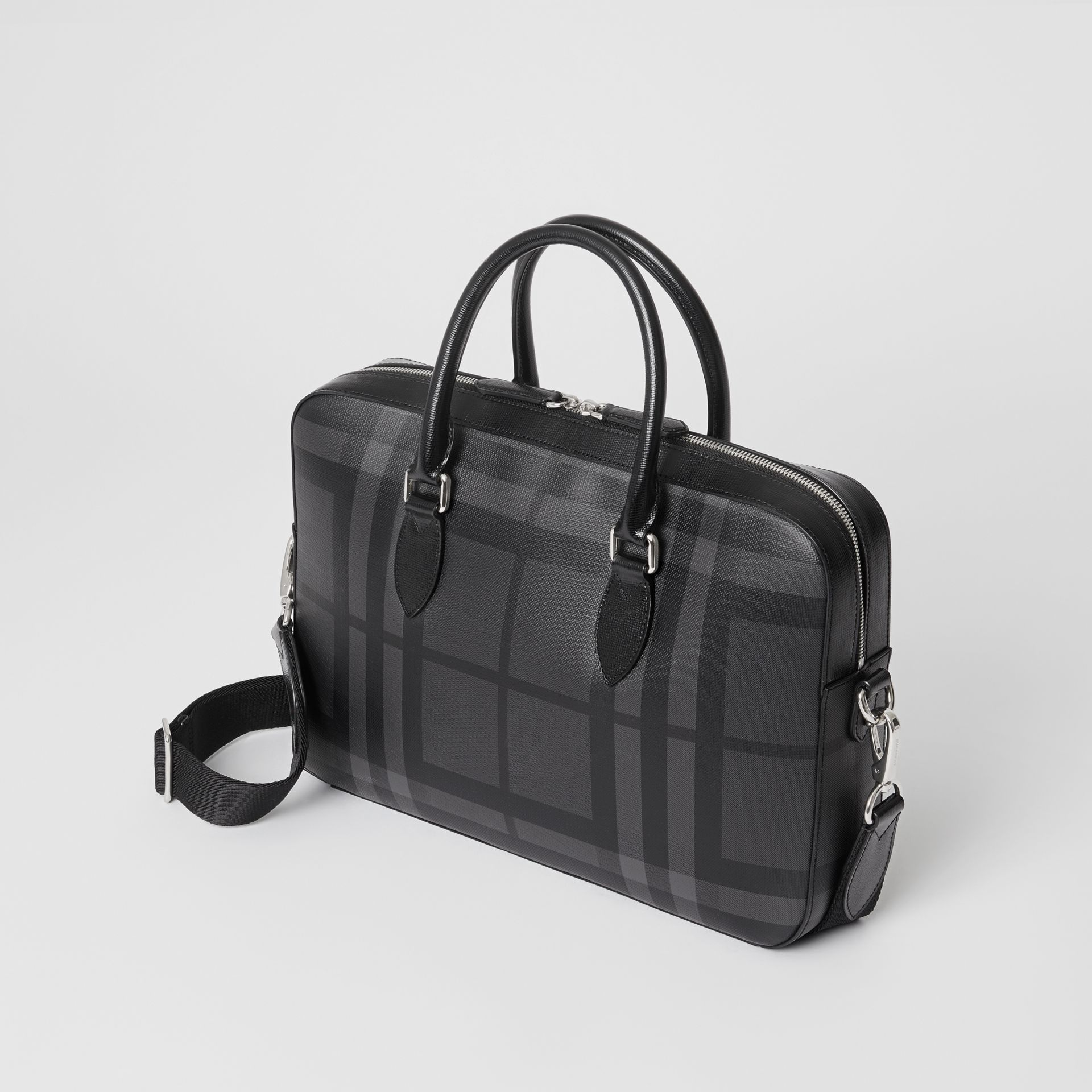 Sac The Barrow fin avec motif London check (Anthracite/noir) - Homme | Burberry Canada - photo de la galerie 4