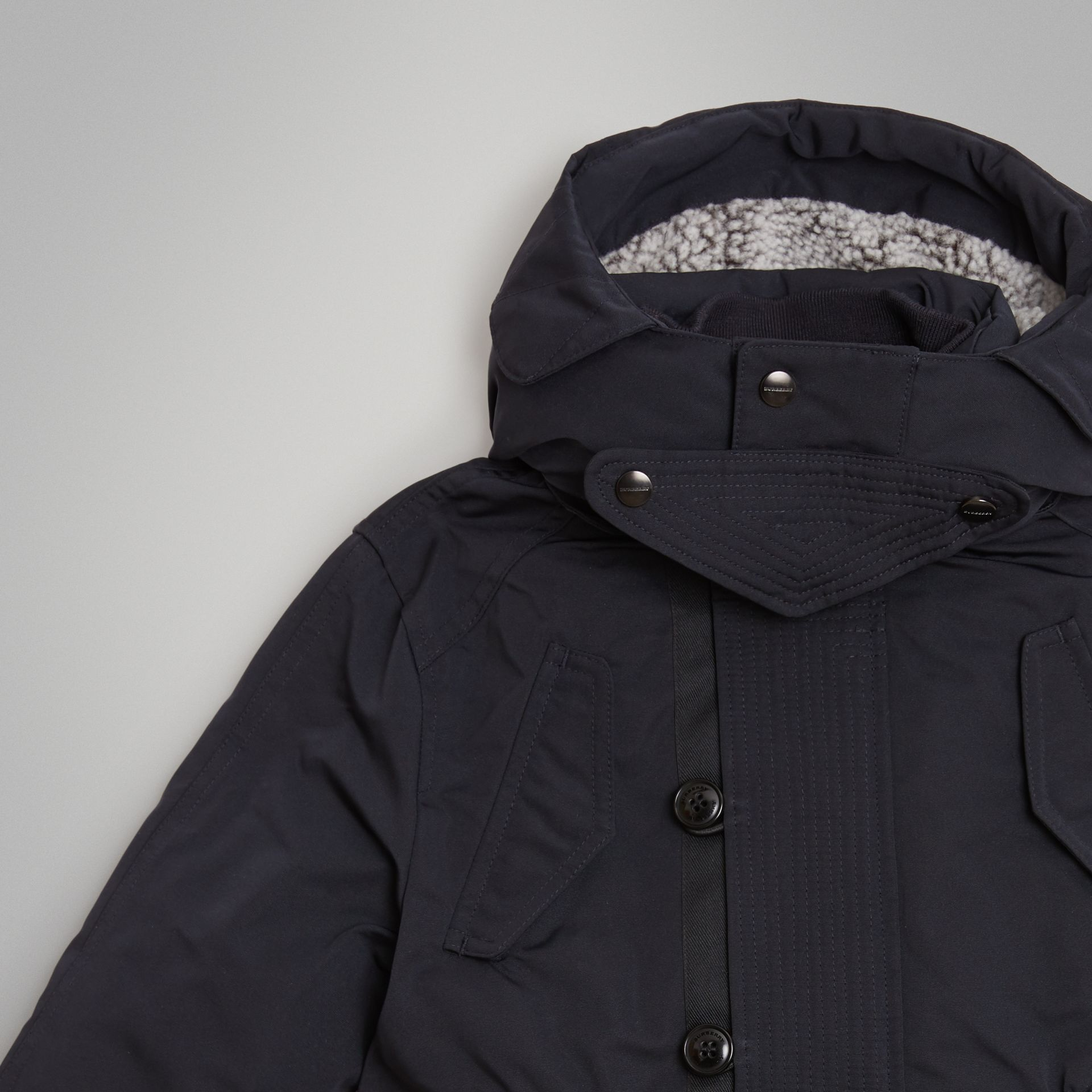 Detachable Hood Down-filled Parka Coat in Navy | Burberry - gallery image 4