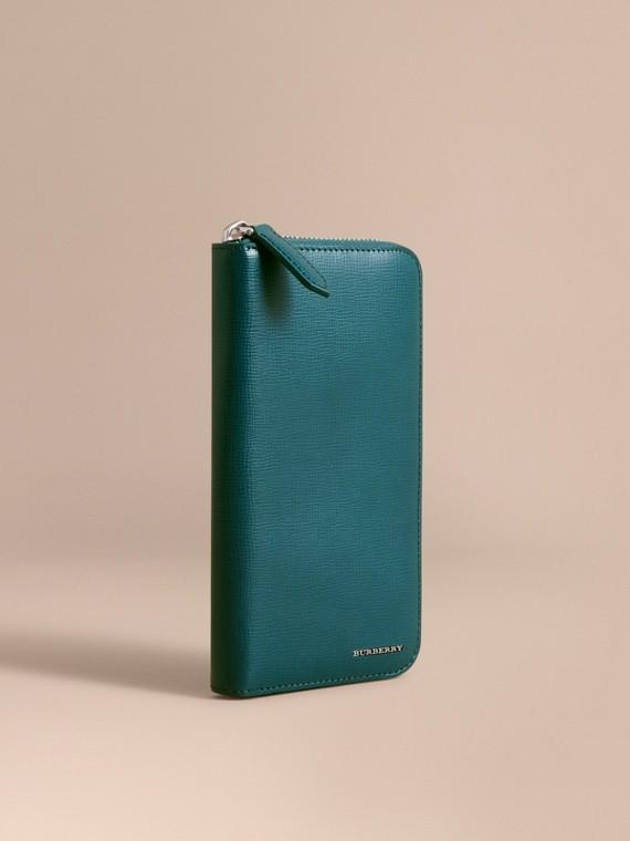 Brieftasche aus London-Leder mit umlaufendem Reißverschluss Dunkles Blaugrün