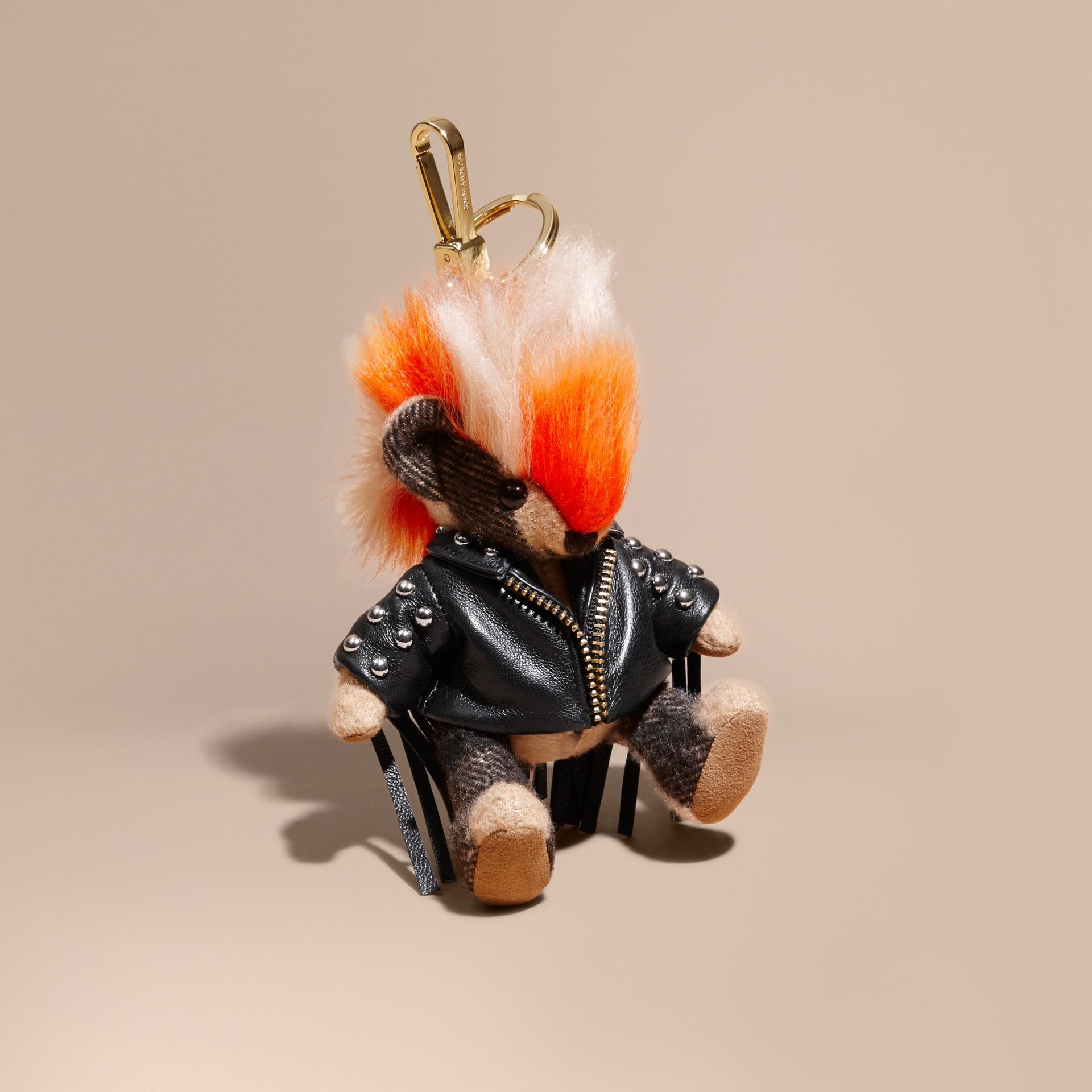 The Punk Thomas Bear Charm with Fringed Lambskin Jacket - gallery image 1
