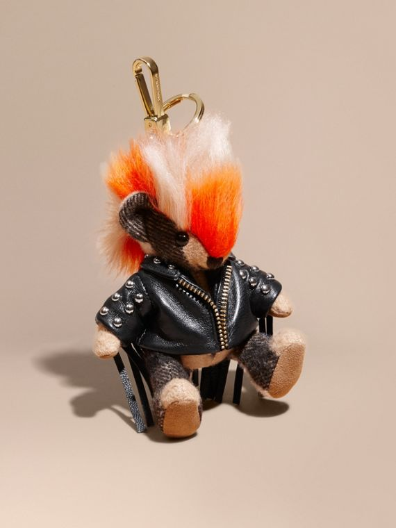 The Punk Thomas Bear Charm with Fringed Lambskin Jacket