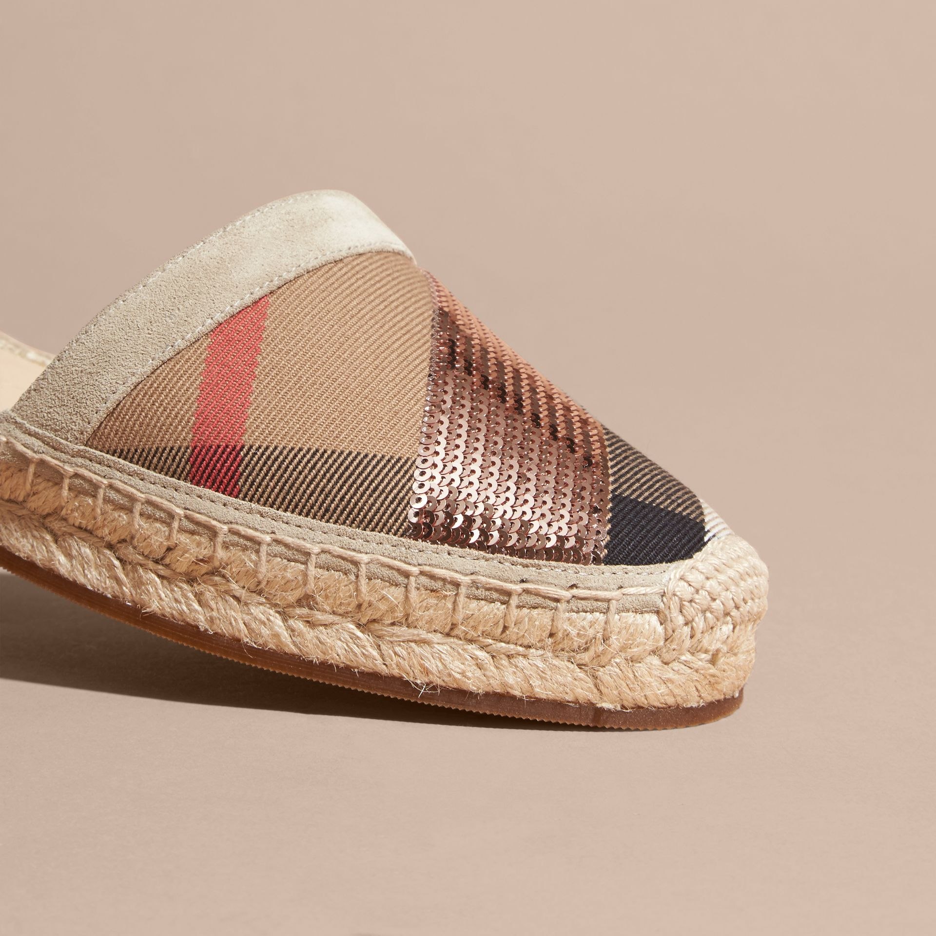 House check/pale pink Sequinned Leather and House Check Espadrille Sandals Check/pale Pink - gallery image 6