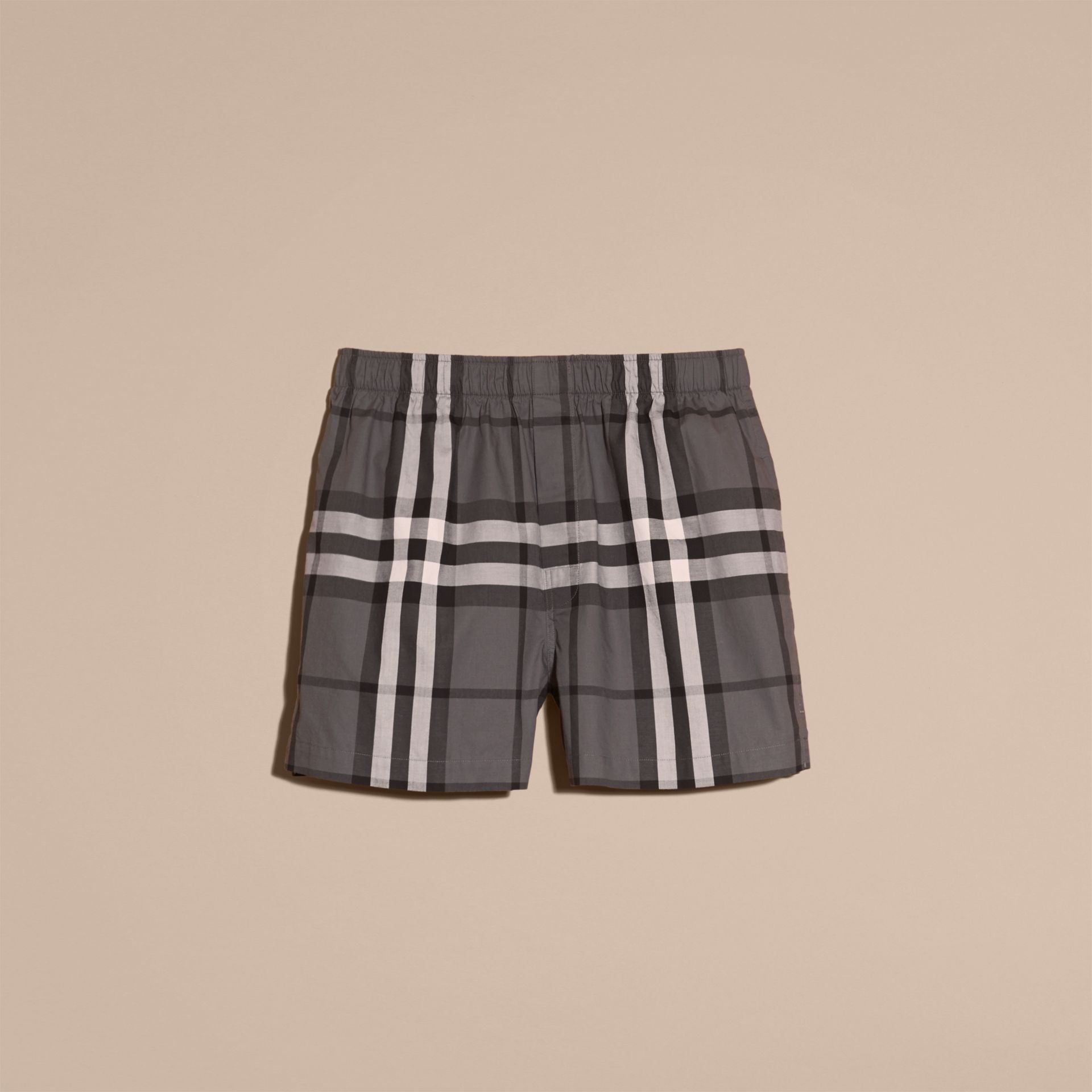 Check Twill Cotton Boxer Shorts Charcoal - gallery image 4