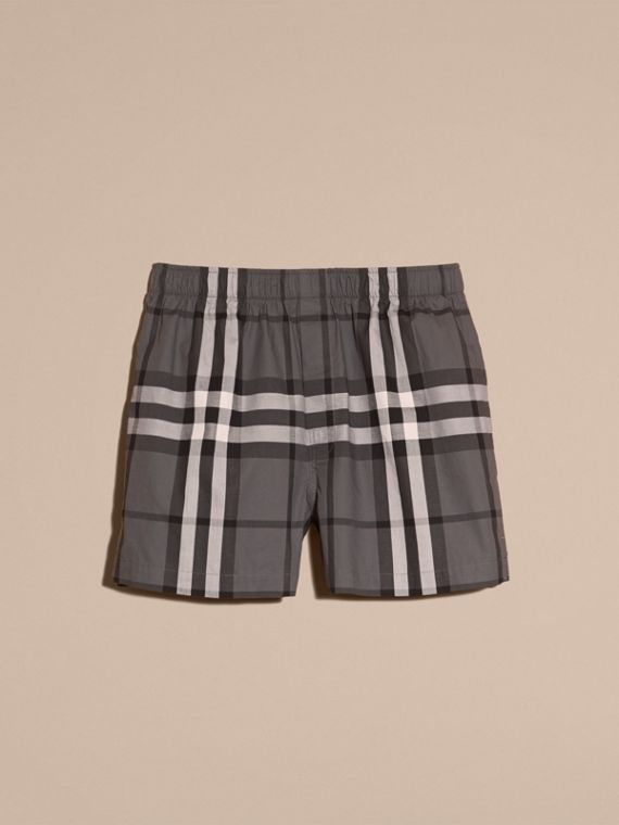 Check Twill Cotton Boxer Shorts Charcoal