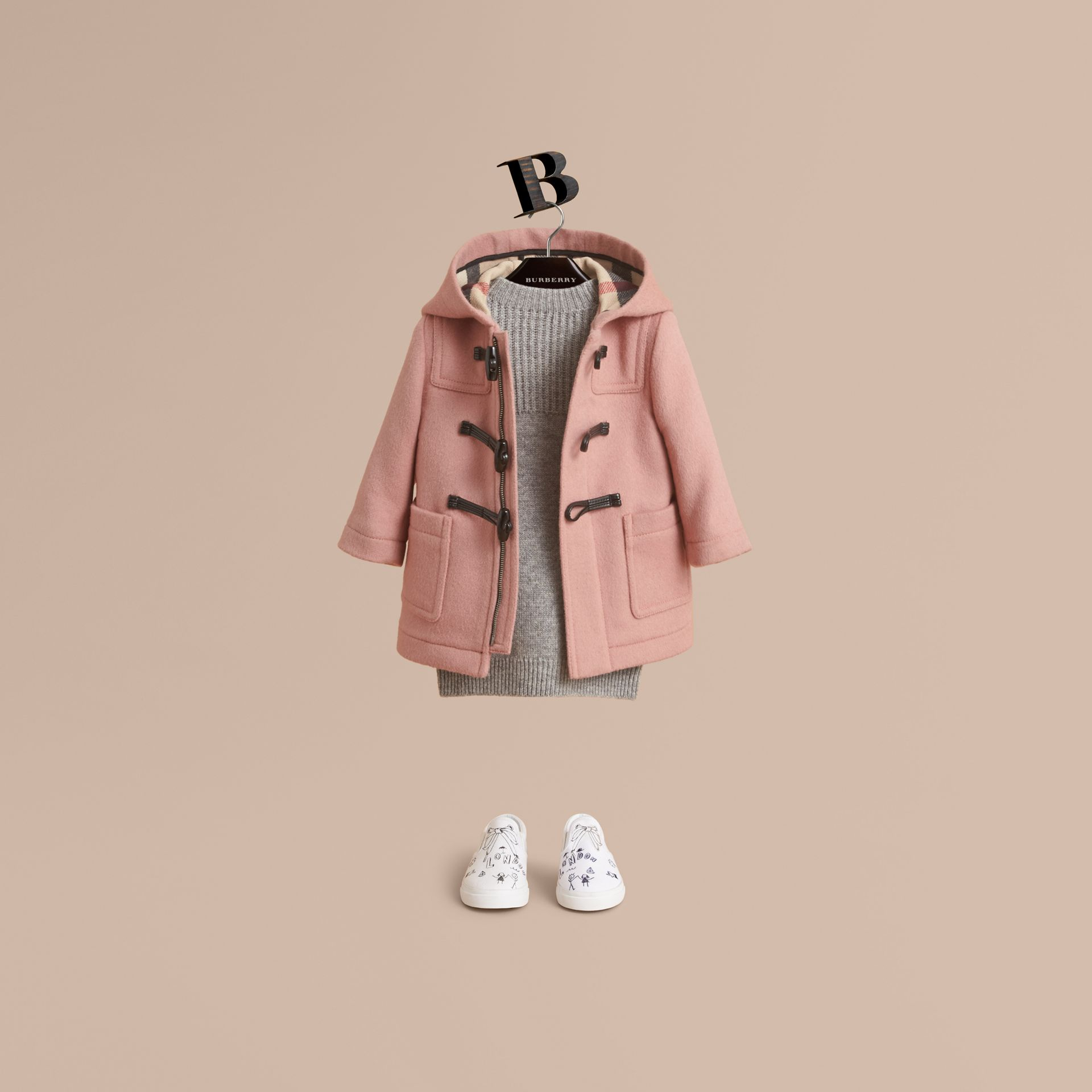 Wool Duffle Coat in Pale Rose | Burberry - gallery image 1