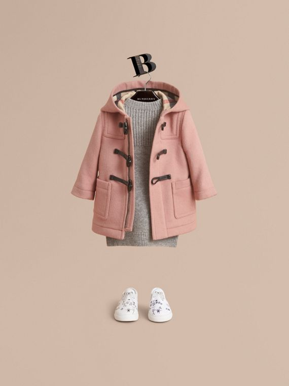 Wool Duffle Coat in Pale Rose