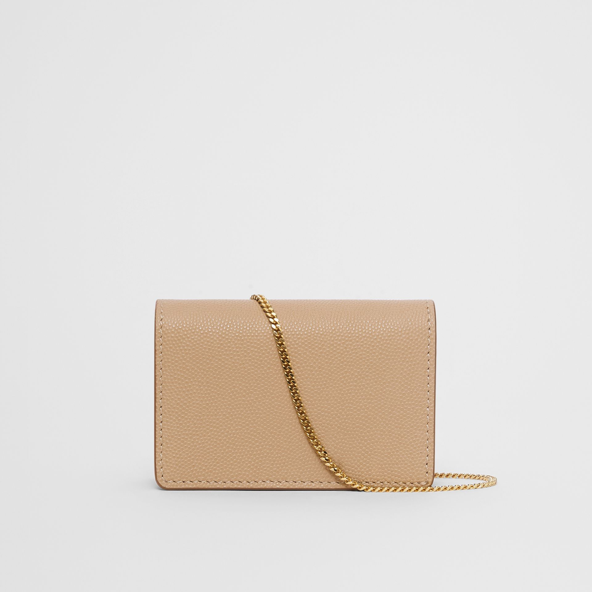 Grainy Leather Card Case with Detachable Strap in Archive Beige - Women | Burberry Australia - gallery image 5