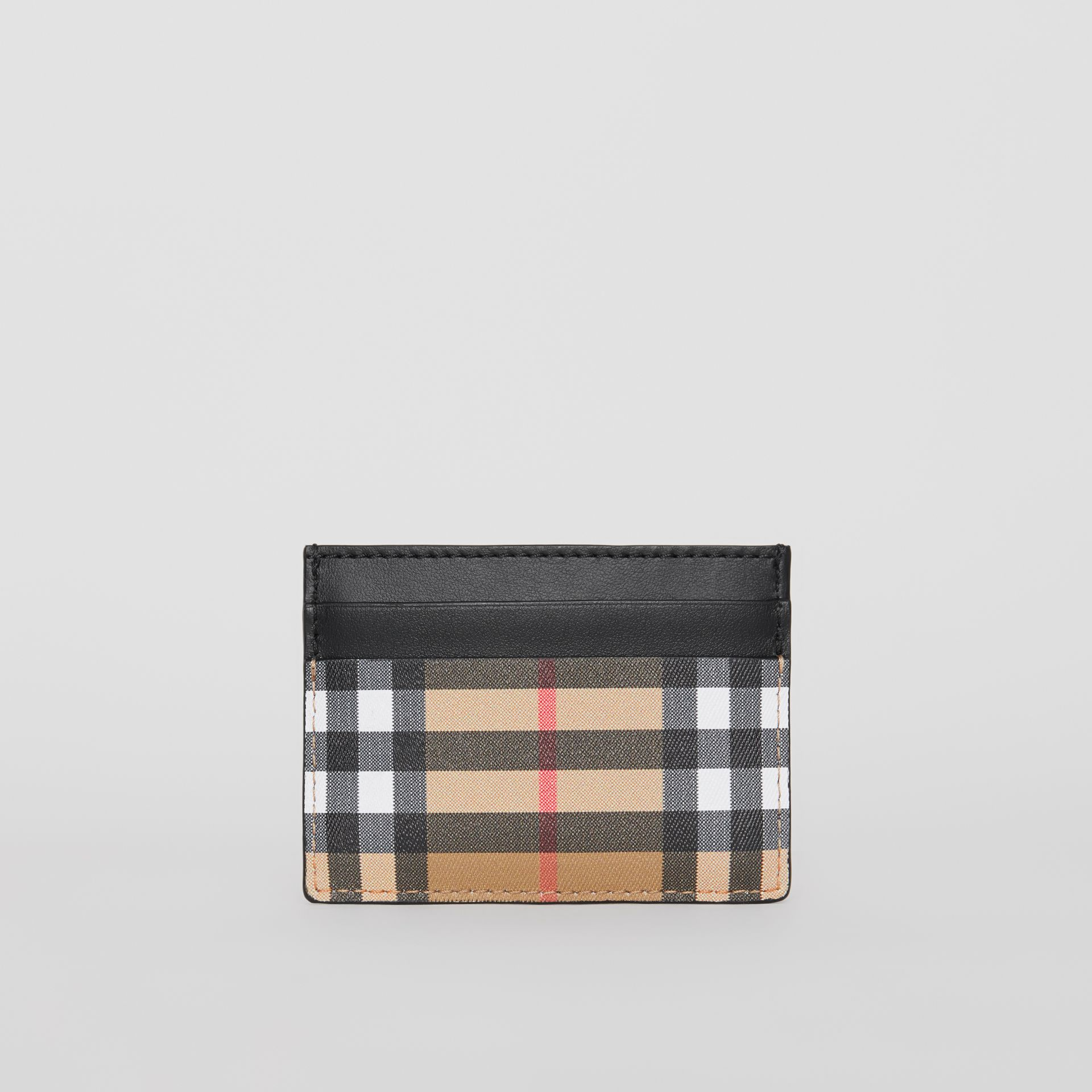 Vintage Check Leather Card Case in Black | Burberry - gallery image 5