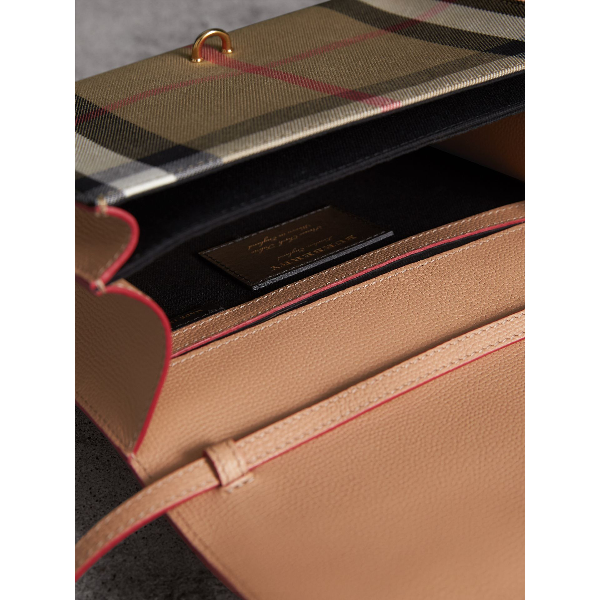 Small Leather and House Check Crossbody Bag in Pale Apricot - Women | Burberry Australia - gallery image 4