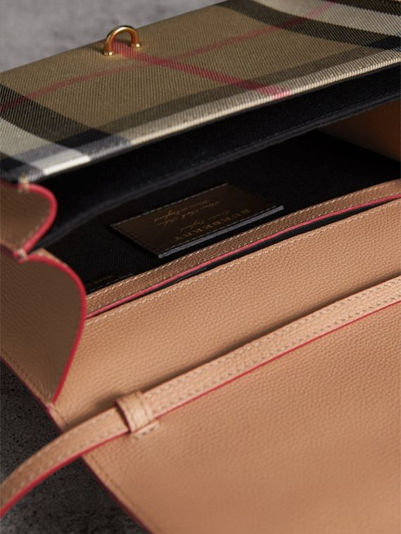 Small Leather and House Check Crossbody Bag in Pale Apricot - Women | Burberry - cell image 3