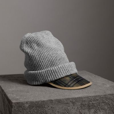BURBERRY 1983 CHECK WOOL COTTON PEAKED BEANIE