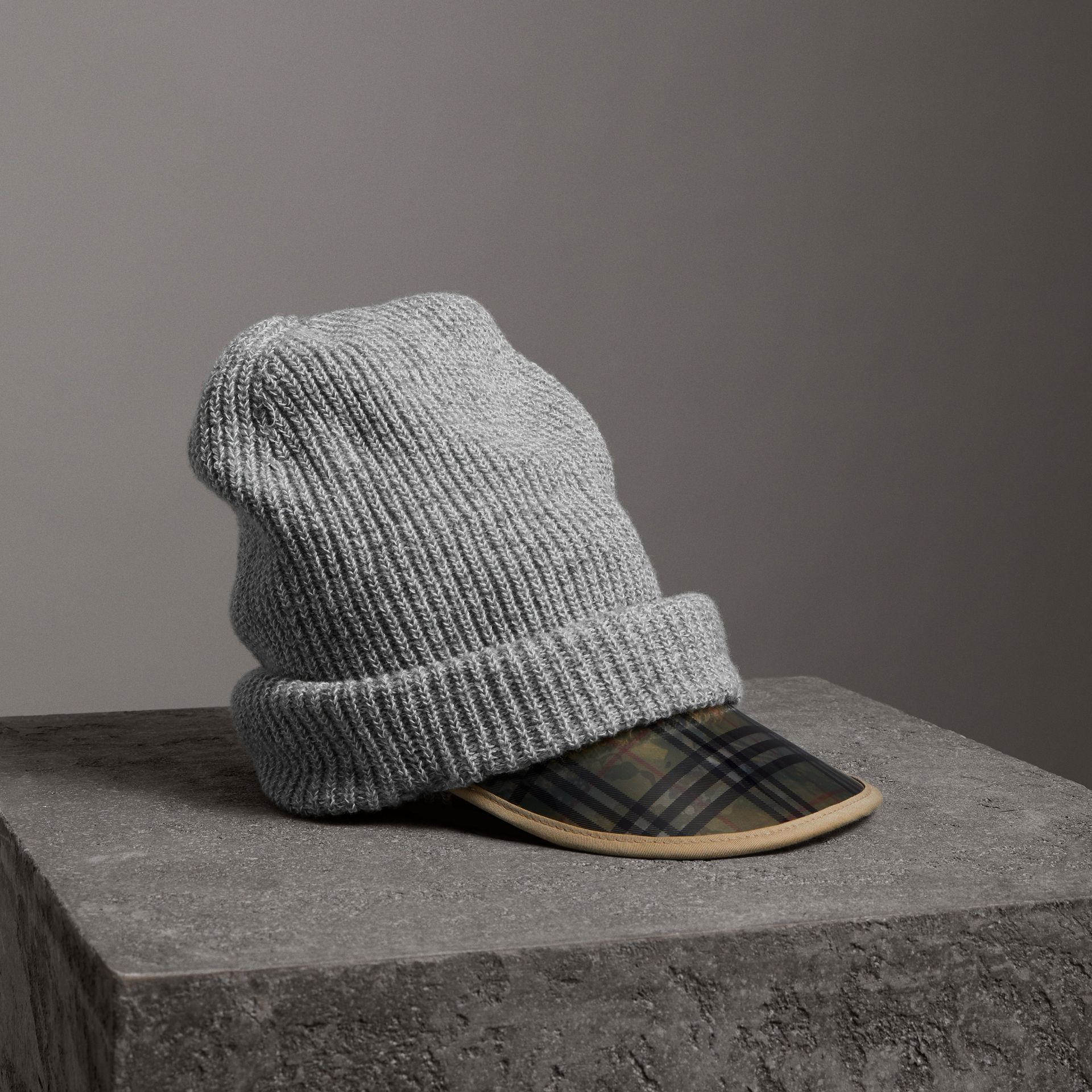 1983 Check Wool Cotton Peaked Beanie in Mid Grey Melange | Burberry - gallery image 0
