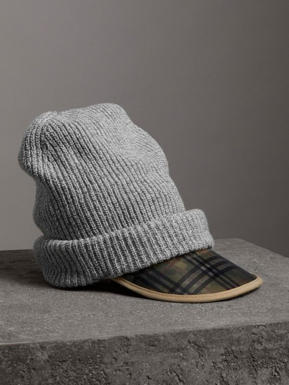 1983 Check Wool Cotton Peaked Beanie in Mid Grey Melange