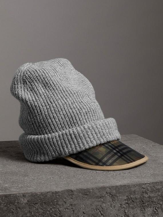 Cappellino con visiera in lana e cotone con motivo tartan del 1983 (Grigio Medio Mélange)
