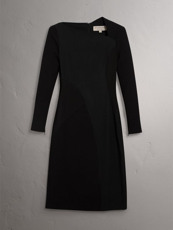 Slash-neck Panelled Dress in Black - Women | Burberry - cell image 3