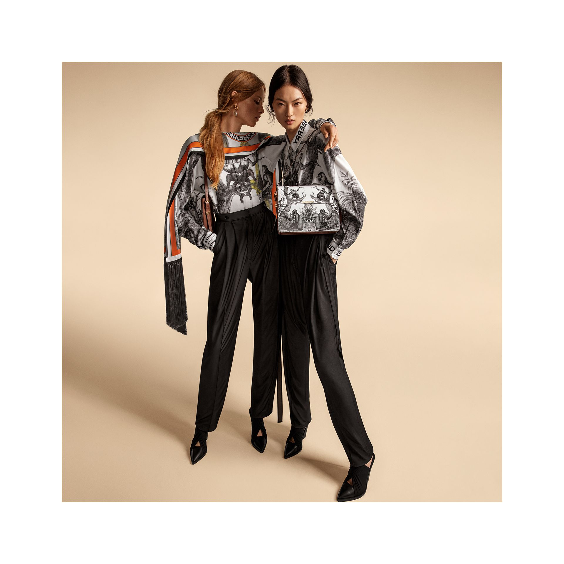 Montage Print Silk Shirt in Monochrome - Women | Burberry - gallery image 1