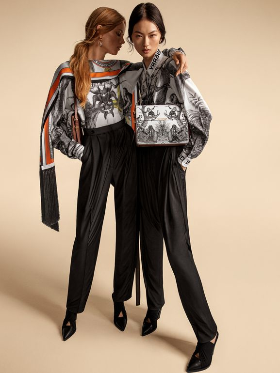 Montage Print Silk Shirt in Monochrome - Women | Burberry - cell image 1
