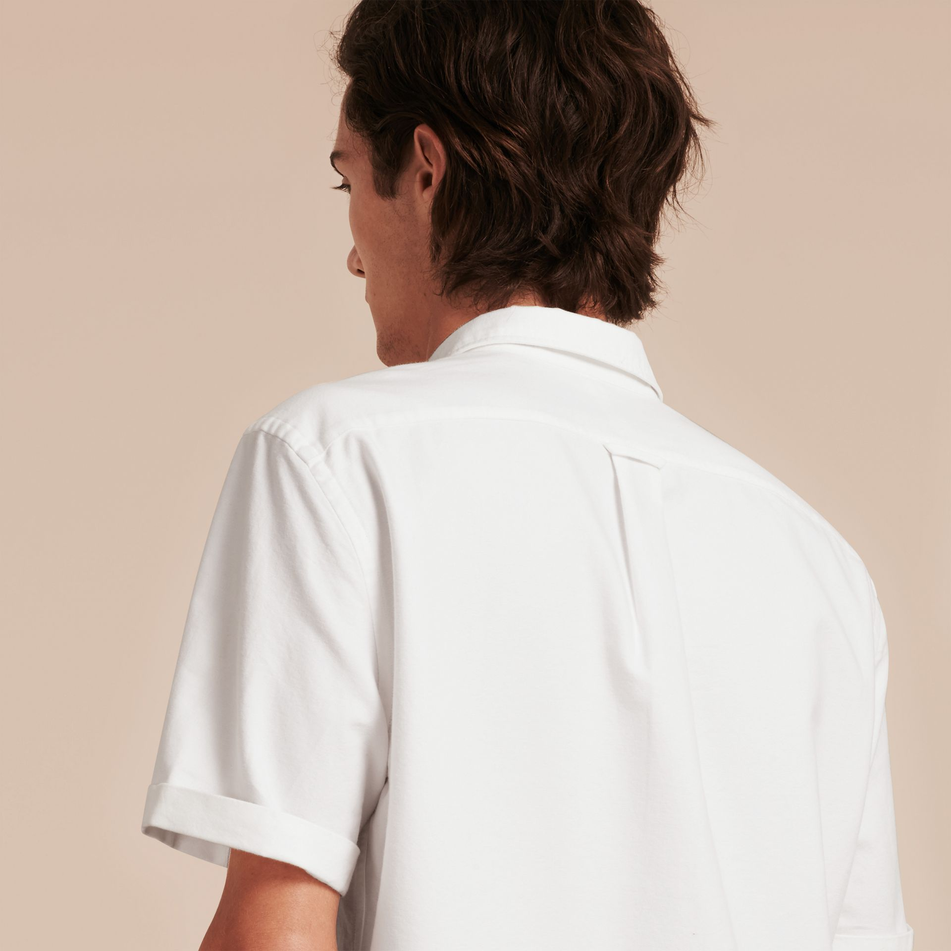 Check Detail Short-Sleeved Cotton Oxford Shirt in White - gallery image 3