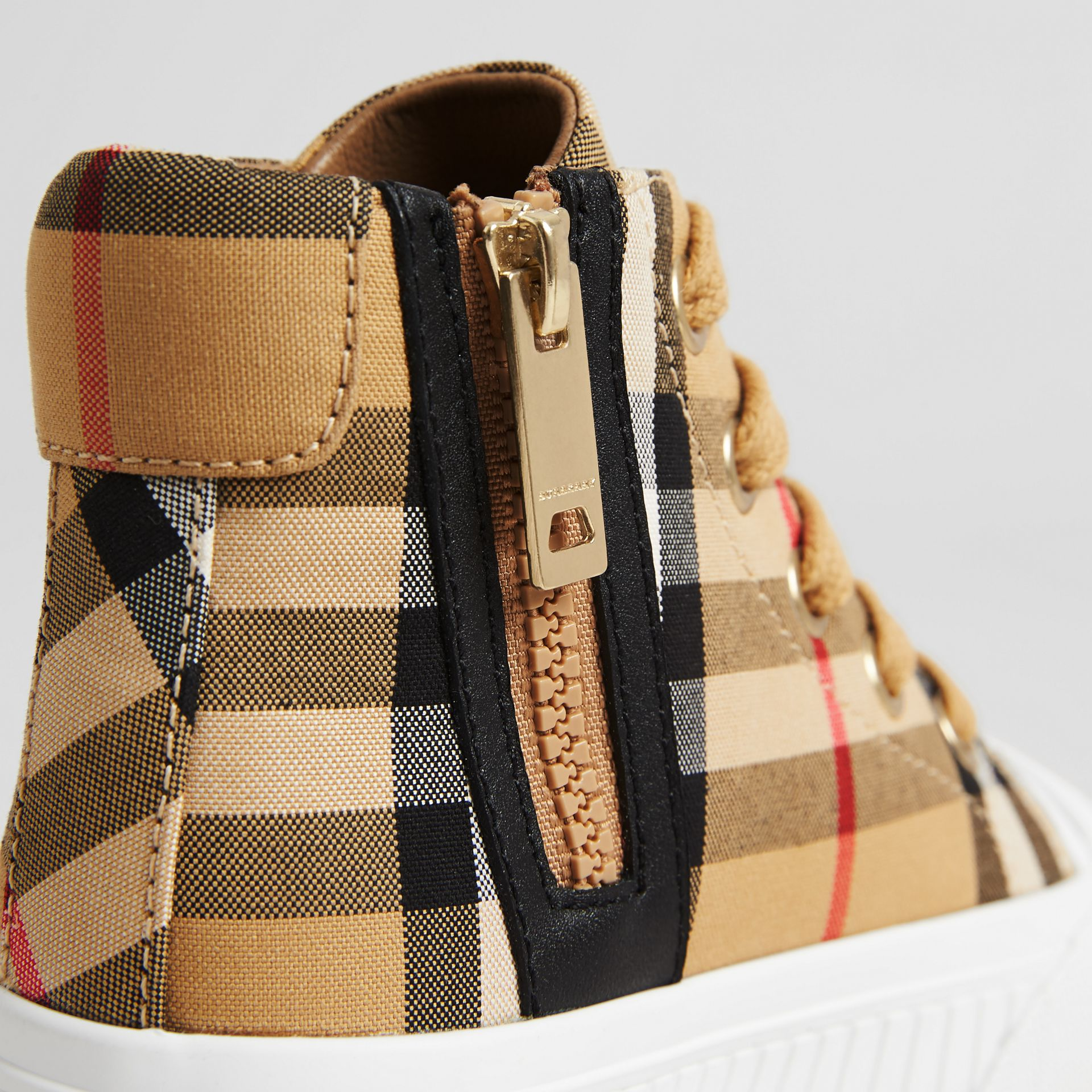 Vintage Check and Leather High-top Sneakers in Antique Yellow/optic White - Children | Burberry Singapore - gallery image 1
