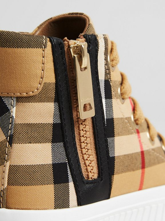 Vintage Check and Leather High-top Sneakers in Antique Yellow/optic White - Children | Burberry Singapore - cell image 1