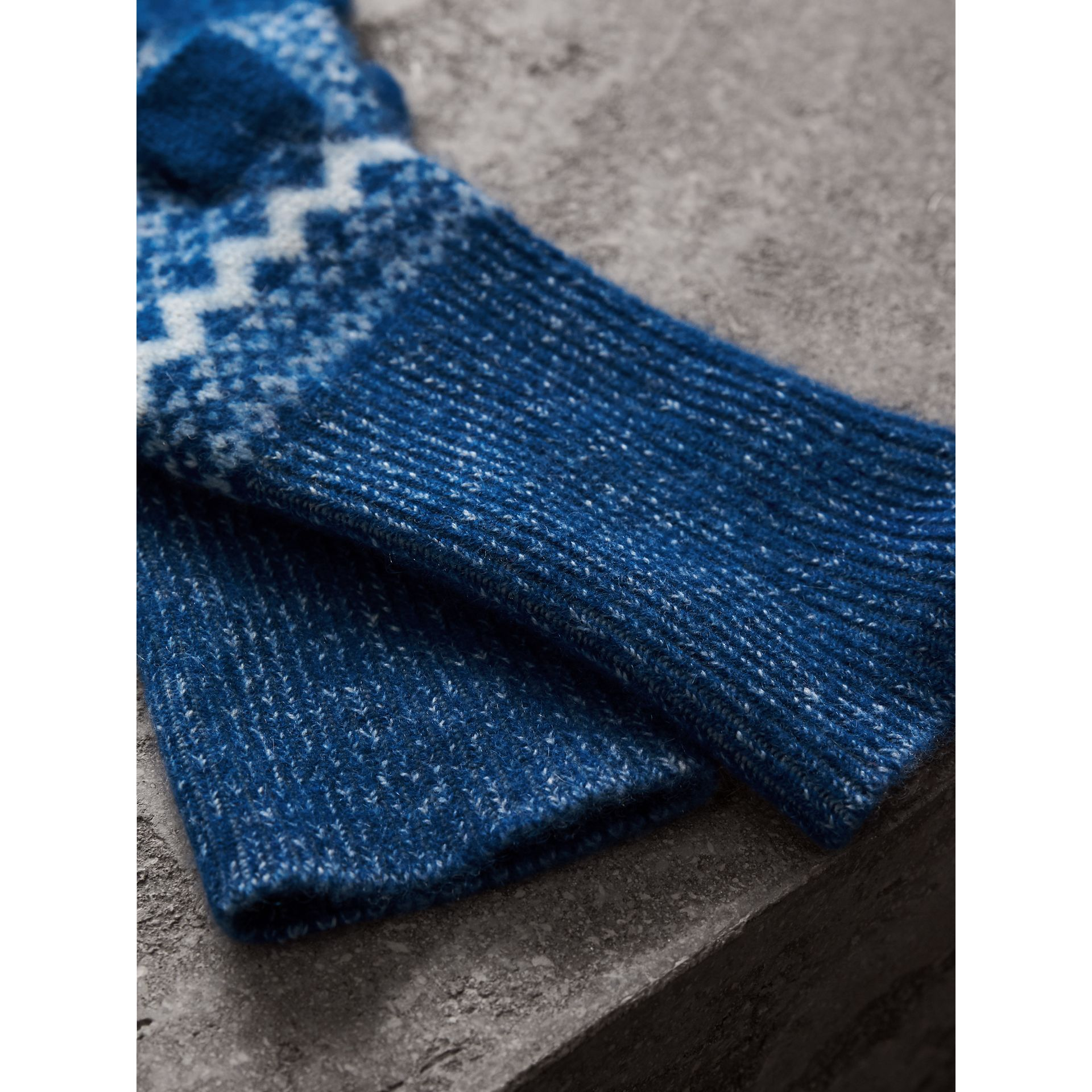 Fair Isle Cashmere Fingerless Gloves in Cobalt Blue | Burberry - gallery image 3